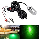 HJKLC 12v 20W 108 LED Luce da Pesca Subacquea Barca da Pesca di Notte Luce sottomarina di Immersione Subacquea con Clip di Batteria (Verde)