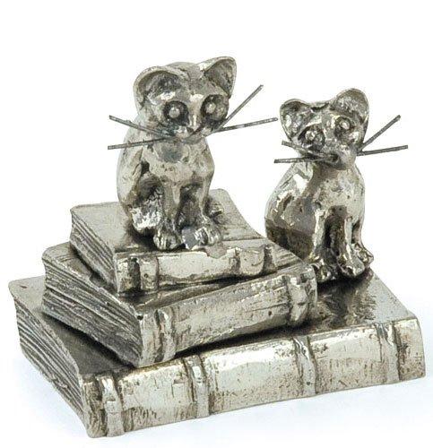 Chatons sur 3 livres Miniature - Figurine en étain 95,5% - Fabriqué en France - Objet déco - Cadeau lecture