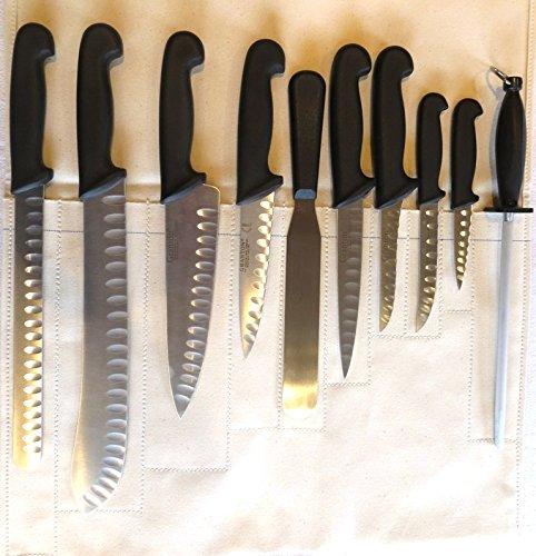 Granton The Original Edge Knife 10PC Set Coltello Chef Professionale in Pelle.