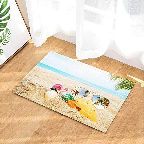 JoneAJ Sonnenbrille Muschel Hintergrundmuster Flanell Indoor Bodenmatte Badeteppiche verhindern das Verrutschen und Schleudern super saugfähigen 3D-Druck 60x40cm