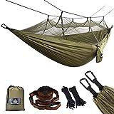 NATUREFUN Ultraleichte Moskito Netz Camping Hängematte 300kg Tragfähigkeit,(275 x 140 cm) Atmungsaktiv, schnell trocknende Fallschirm Nylon Enthalten 2 x Premium Karabinerhaken 4 x...