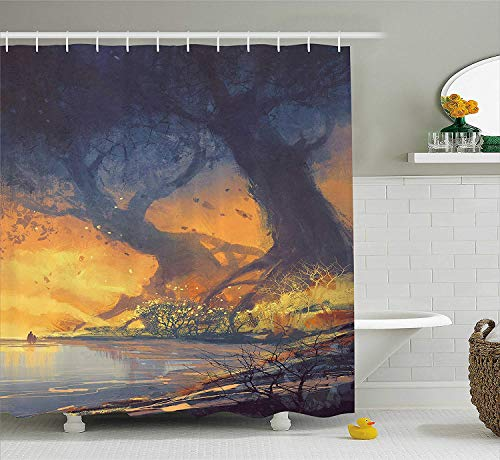 Fantasy Shower Curtain, Artistic Landscape Painting of Big Trees with Huge Roots at Sunset Beach Seaside, Fabric Bathroom Decor Set with Hooks, 66x72 inches, Orange Blue (Cake Walk Halloween)