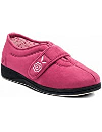 08fe610c94dc Padders CAMILLA Ladies Extra Wide (EE) Fitting Touch Fasten Slippers Cerise