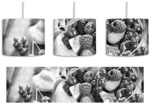 Frischer Obstsalat in der Schüssel Kunst B&W inkl. Lampenfassung E27, Lampe mit Motivdruck, tolle Deckenlampe, Hängelampe, Pendelleuchte - Durchmesser 30cm - Dekoration mit Licht ideal für Wohnzimmer, Kinderzimmer, Schlafzimmer