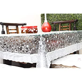 """Live Factory 3D PVC Table Cover with Silver Lace - 4 Seater Center Table, Transparent 60"""" X 40"""" (Exact size)"""