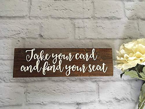 Monsety Hochzeitskarte Schild Take Your Name Table Find Your Seat Tischkarten Schild Hochzeit Schild Brautdusche rustikale Dekoration Frühling Sommer handbemalt Holzschilder mit Zitaten Home Plaque