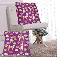 BetterShopDay Pack Of 2 Decorative Outdoor Waterproof Cover Akita Donut Dog Donuts Dog Food Akita Dogs Purple Square pillow Cushion Case Multiple Sizes