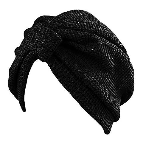 Merssavo Femme Homme Turban Indien Bonnet en Coton pour le printemp et l'hiver Noir Pour Vacances Conge Voyage Ete Vacances d'ete
