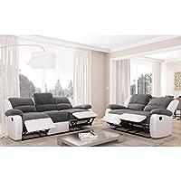 Relax ensemble 2 canapés de relaxation en simili et tissu 3 + 2 places - 190x93x96 cm + 144x93x96 cm - gris et blanc