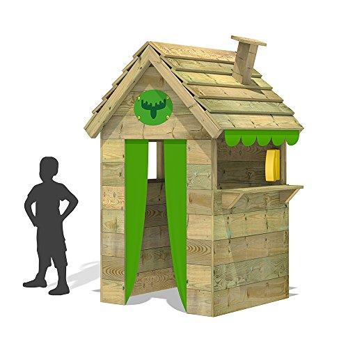 FATMOOSE Kinder-Spielhaus BeetleBox Bling XXL Spielhaus Garten Holz mit hoher Theke und Dach mit Schornstein