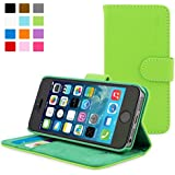 Snugg® iPhone 5 / 5s Case - Leather Flip Case with Lifetime Guarantee (Green) for Apple iPhone 5 / 5s