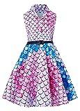 RAISEVERN Vestido de Fiesta Vintage Hermosa años 90 Retro Rosa Azul Marino Sirena Swing Dresses con cinturón Negro para niña de Verano 6-7Years