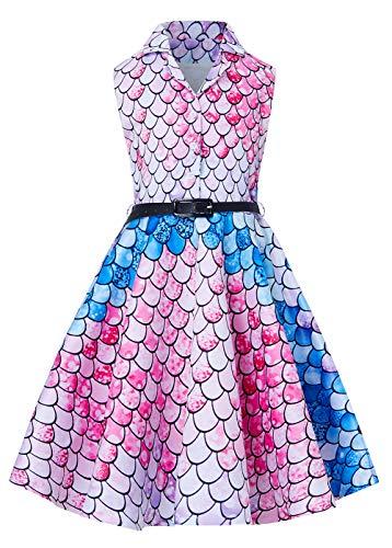 Formel-line (RAISEVERN Vintage Meerjungfrau A Line Elegantes ärmelloses Kleid formelle Prom Party Celebrity Cocktail Swing Abendkleider für 12-13 Jahre Kleinkind Teen Mädchen)