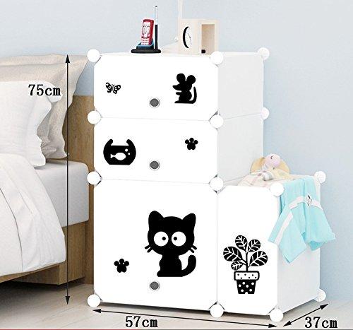Flashing-DIY Casiers Simple Simple moderne Cabinet de chevet Avec Portes Avec Kegs, Multifonction Résine plastique ABS Chevet, Mini armoires de rangement avec des autocollants ( taille : 57*75*37cm )