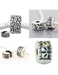 Set of 4 Floral Design Clip Lock Stopper Charm Beads. Fits All Major Charm Bracelets.