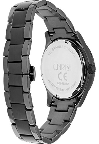 CHRIST times Damen-Armbanduhr Edelstahl Analog Quarz One Size, grau, schwarz -