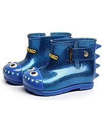 Sanzhileg Zapatos antirresbaladizos para la Lluvia para Niã±Os Zapatos Impermeables de PVC Antideslizantes en Botas de Lluvia con Patrã³n de Tiburã³n Encantador Unisex - Azul 24