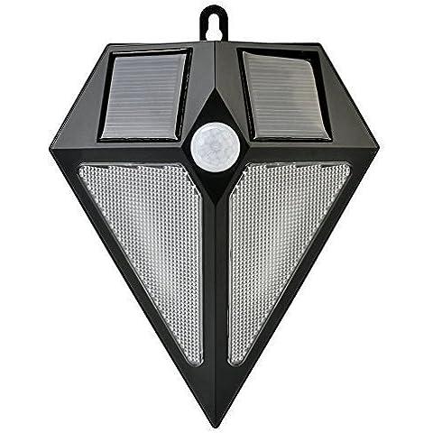 Bianco Caldo Lampada Solare Con Sensore di movimento / Deallink Senza fili Esterni LED lampada da Parete, 150 Lumen, Resistente alle intemperie, per giardino parete Cortile Passaggio Terrazza Balcone Entrata, Nero