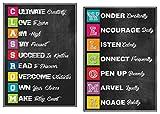 Motivation Bienvenue Lot de 2affiches de salle de classe–laminé Croissance + Mindset (Tableau noir mural Posters | inspirants Acronymes pour Middle School + High School Teachers | Décorations de salle de classe, 50,8x 35,6cm...