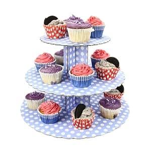 Cupcake Stand - 3 Tier Blue Polka Dot