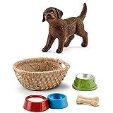 Farm World Schleich - 13835 Labrador Retriever Welpe + 42293 Futter für Hunde & Katzen