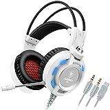 Kopfhörer, Nubwo K6 Stereo-Gaming-Headset mit Mikrofon, bester Enhanced-Bass Audiophil-Stereo-Kopfhörer, 2 Meter lang Audiokabel mit ein USB 2.0 und zwei 3,5 mm-Anschlüssen (Schwarz/Weiß)
