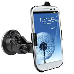 NEW 'Samsung i9300 Galaxy S3 SIII' Made To Measure Windscreen In Car Suction Mount Holder with FULL 360 Degrees Rotation PLUS FREE Micro USB Car Charger For Samsung Galaxy S3 Accessory Pack - iZKA® One Stop Shop For All Your Accessory Needs