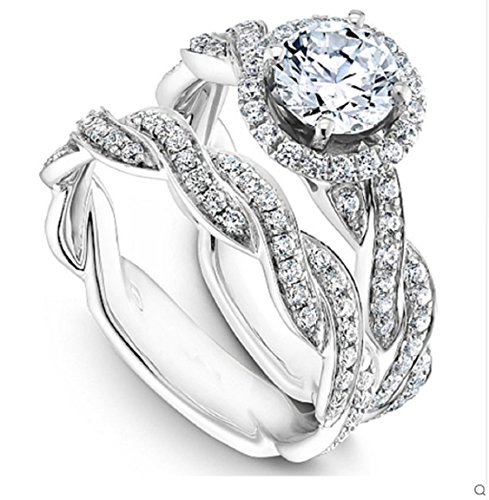 r Frauen moissanites Engagement Ring Set 14 K Weiß Gold Halo 1 CT (Moissanite Ringe)