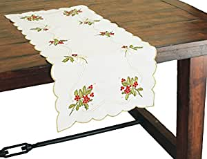 Xia Home Fashions Holly Berry Embroidered Collection Table Runner 16 by 34-Inch