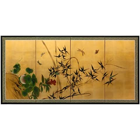 Oriental Furniture SILK-BBFLIES Butterflies and Bamboo on Gold Leaf by ORIENTAL FURNITURE