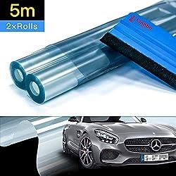 Linhbo Lot de 2 rouleaux de film de protection autocollant pour peinture de voiture et vélo avec raclette en vinyle Transparent 20 x 250 cm