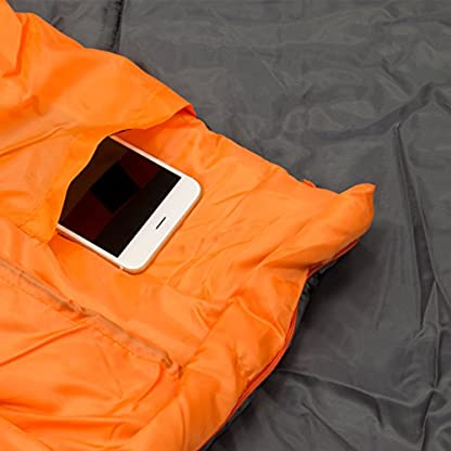 Milestone Camping Unisex's 26750 Envelope Sleeping Bag 3 Season Double Insulation Grey & Orange, Grey 6