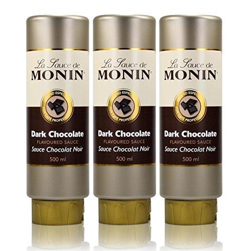 3x Monin Dunkle Schokolade Sauce 500 ml - DarkChocolate Flavoured Sauce
