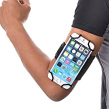 TFY Brazalete Deportivo con Open-Face + Llavero para Móvil de 4 a 5.5 Pulgadas (solo admite grosor de esquina del teléfono de:<9.2mm) - (Diseño Pantalla Abierta - Acceso Directo a los Controles de Pantalla Táctil) - iPhone 5 / 5 S iPhone 6 (Plus) -iPod Touch 5th &6th Generation - Nexus 5 - Lumia 925 / 630 - Samsung Galaxy S4(9500) / S5(G900) / S6 / S7 / Note 2 (N7100) - HTC One (Max & Mini) / Desire / Butterfly y Otros (Negro/Gris)