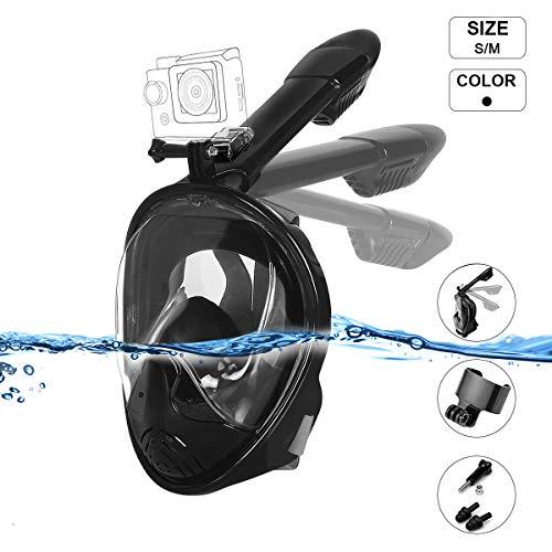 Dobee Masque de plongée Plein Visage 180° panoramique, Anti-Buée Anti-Fuite sous-Marine, Snorkel Masque avec la Support pour Caméra de Sport, pour Les Sports Aquatiques, pour 12+ Enfants et Adultes