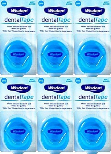 Wisdom Dental Tape Waxed Mint 50m x 6 Packs by Wisdom
