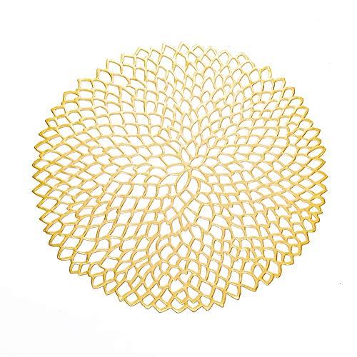 0 Stück, elegant, gepresst, Vinyl, Metallic-Platzsets/Ladegerät/Hochzeit, Akzent, rutschfest, leicht zu reinigen Modern Diameter 38Cm/15inch Gold/10pcs ()