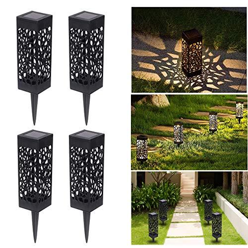 Solarleuchte Garten Solarlampen für Außen LED Solar Gartenleuchte Dekoration für Terrasse Bahn Rasen Garten Patio Hinterhöfe Wege, Warmweiße (4 Stück)