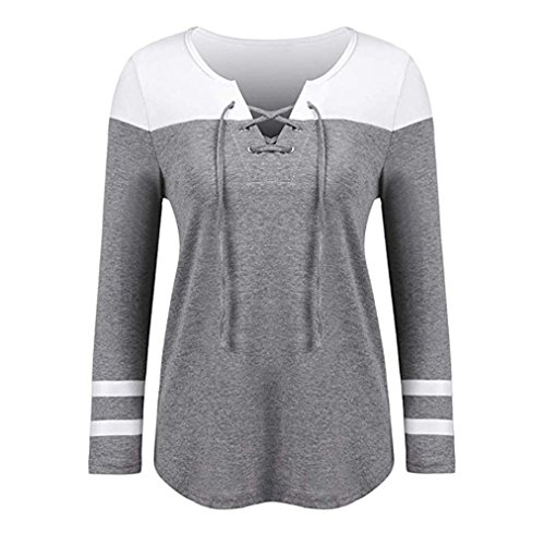 Xiantime Damen Bluse Frauen Mode V-Ausschnitt Patchwork Langarm-Lose Tops T-Shirt Bluse S-XXL