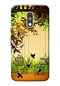 Customizable Hamee Original Cover Thin Fit Plastic Hard Back Case Cover for Motorola Moto M Birds