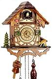 Orologio a cucù della Foresta Nera in vero legno con meccanismo azionato da batteria con verso cucù e musica - di Uhren-Park Eble - Eble –Casetta a traliccio 24 centimetro-