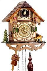 Idea Regalo - Orologio a cucù della Foresta Nera in vero legno con meccanismo azionato da batteria con verso cucù e musica - di Uhren-Park Eble - Eble -Casetta a traliccio 24 centimetro-