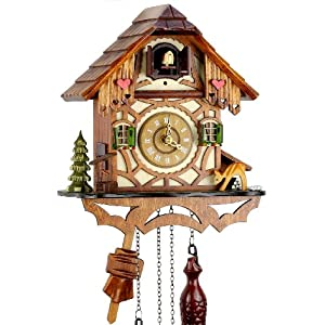 Schwarzwälder Kuckucksuhr aus Echtholz mit batteriebetriebenem Quartzwerk mit Kuckuckruf und Musikspielwerk – von Uhren…