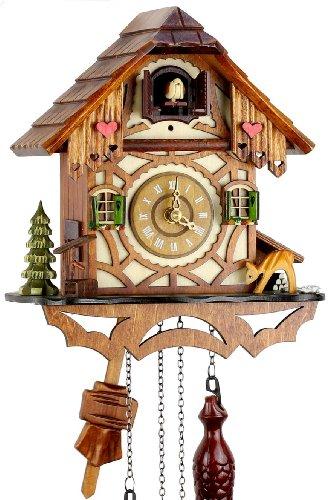 Orologio a cucù della Foresta Nera in vero legno con meccanismo azionato...