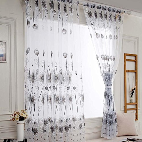 SUCES 1 STÜCKE Reben Blätter Tüll Tür Fenstervorhang Drapieren Panel Sheer Schal Volants,Transparent Gardine Vorhang Schlaufenschal Deko für Wohnzimmer Schlafzimmer Studierzimmer (Gray)