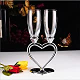 XBJBPL Rotweingläser/Sektgläser/Rotweinglas,Silber Rotwein Tasse Set / 1 Paar Herzform Champagnerglas Hohe Qualität Wein Tasse Schöne Hochzeitsgeschenk, Als Zeigen