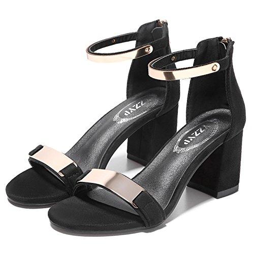 Oasap Women's Open Toe Ankle Strap Back Zip Block Heels Sandals Black