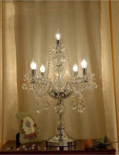 MEHE@ Mode Stilvoll Persönlichkeit kreativ Kristall Tischlampe mit Kristall Anhänger, E14 / 220V, Europäische Luxus Palace Villa Tischleuchte für im Wohnzimmer Schlafzimmer Nacht Schreibtischlampen Nachttischlampen ( Farbe : 5. licht ) (Palace 5-licht)