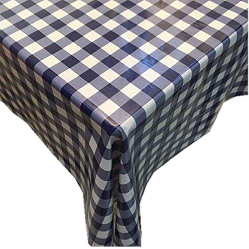 Fanjow® Tischdecke aus PVC, einfach abwischbare Decke in ländlichem Stil aus Kunststoff, öldicht, wasserdicht und flüssigkeitsgeschützt für drinnen und draußen., Blau kariert, 137cm*180cm/53.94