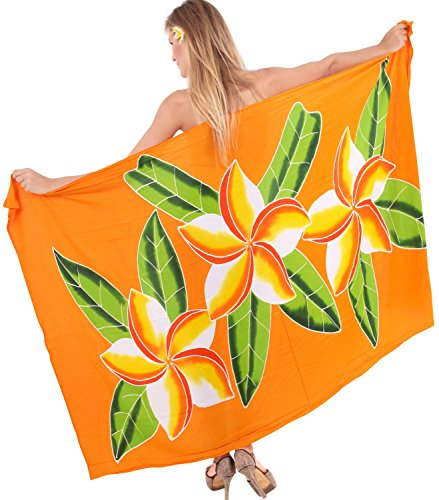 La Leela Badebekleidung Bikini Rock weich coverup Rayon Hibiskus Wrap Sarong 78x43inch Obst Orange